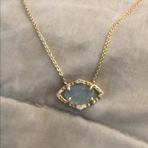 Stella and Dot gold and blue delicate necklace